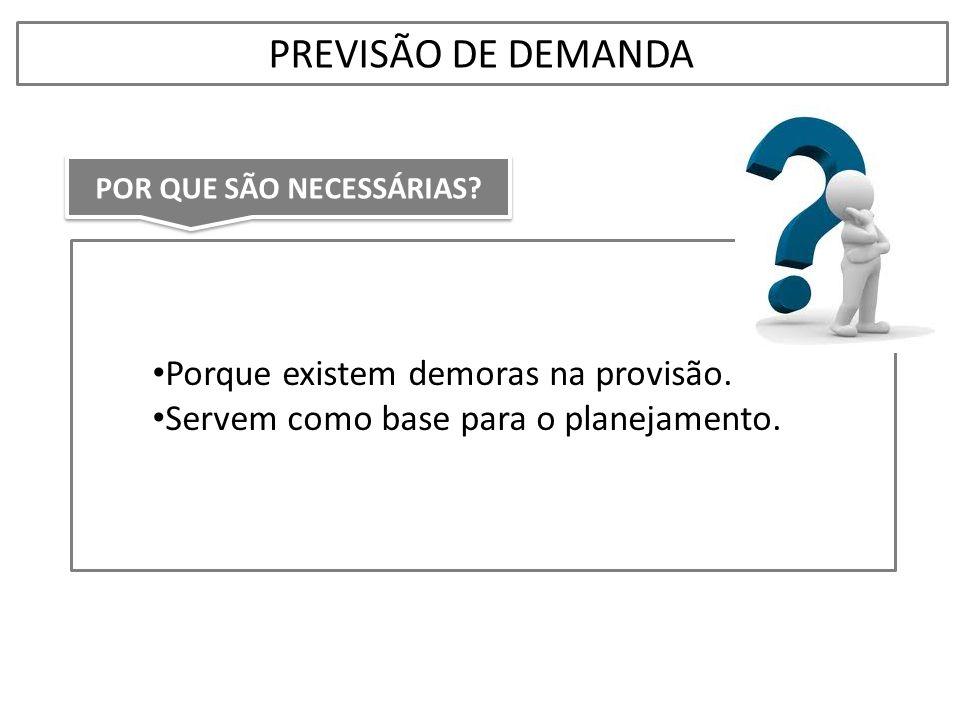• Porque existem demoras na provisão. • Servem como base para o planejamento. PREVISÃO DE DEMANDA POR QUE SÃO NECESSÁRIAS?