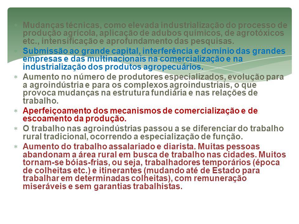  Mudanças técnicas, como elevada industrialização do processo de produção agrícola, aplicação de adubos químicos, de agrotóxicos etc., intensificação e aprofundamento das pesquisas.