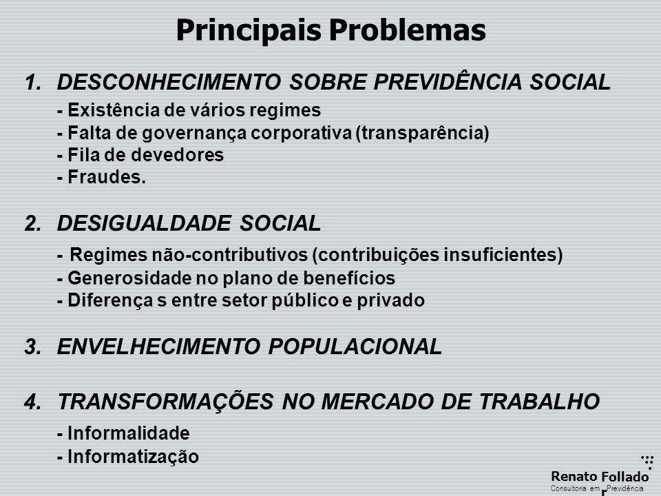 ...... RenatoFollado r Consultoria emPrevidência Principais Problemas 1.DESCONHECIMENTO SOBRE PREVIDÊNCIA SOCIAL - Existência de vários regimes - Falt