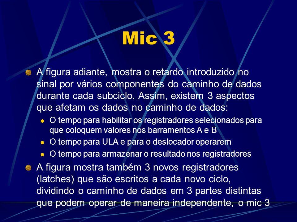 Mic 3 A figura adiante, mostra o retardo introduzido no sinal por vários componentes do caminho de dados durante cada subciclo. Assim, existem 3 aspec