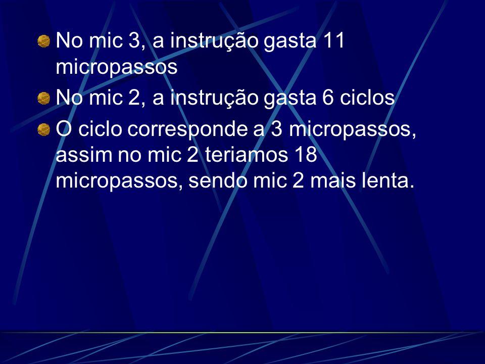 No mic 3, a instrução gasta 11 micropassos No mic 2, a instrução gasta 6 ciclos O ciclo corresponde a 3 micropassos, assim no mic 2 teriamos 18 micropassos, sendo mic 2 mais lenta.