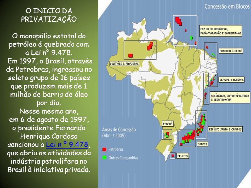 As operações de exploração e produção de petróleo, bem como as demais atividades ligadas ao setor de petróleo, gás natural e derivados, à exceção da distribuição atacadista e da revenda no varejo pelos postos de abastecimento, foram monopólio conduzido pela Petrobras de 1954 a 1997.