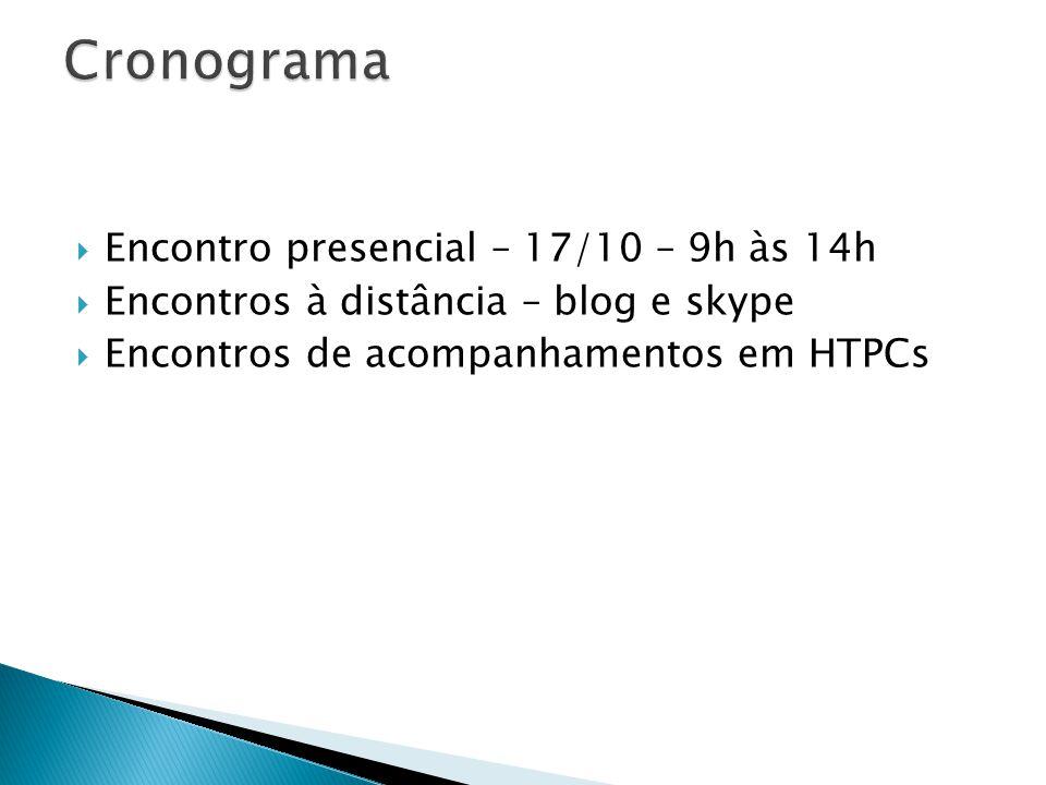  Encontro presencial – 17/10 – 9h às 14h  Encontros à distância – blog e skype  Encontros de acompanhamentos em HTPCs