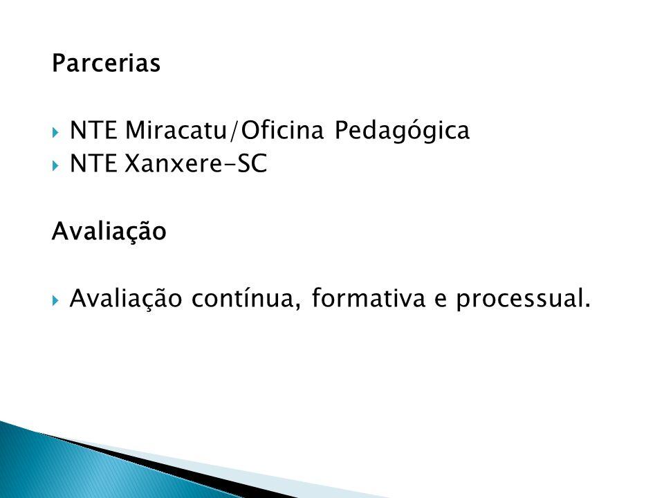 Parcerias  NTE Miracatu/Oficina Pedagógica  NTE Xanxere-SC Avaliação  Avaliação contínua, formativa e processual.