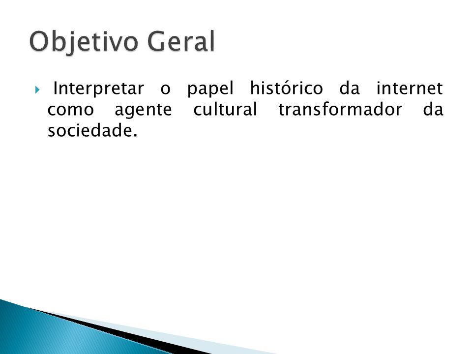  Interpretar o papel histórico da internet como agente cultural transformador da sociedade.