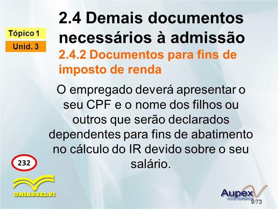 2.4 Demais documentos necessários à admissão 2.4.2 Documentos para fins de imposto de renda 9/73 Tópico 1 Unid. 3 232 O empregado deverá apresentar o