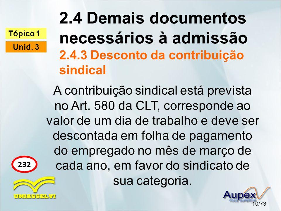 2.4 Demais documentos necessários à admissão 2.4.3 Desconto da contribuição sindical 10/73 Tópico 1 Unid. 3 232 A contribuição sindical está prevista