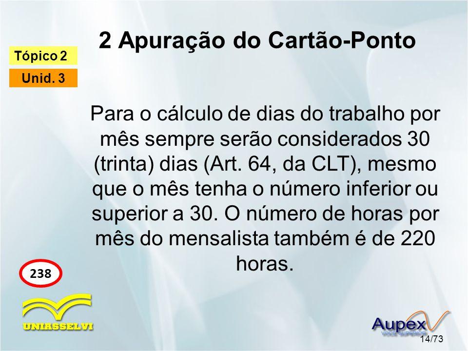2 Apuração do Cartão-Ponto 14/73 Tópico 2 Unid. 3 238 Para o cálculo de dias do trabalho por mês sempre serão considerados 30 (trinta) dias (Art. 64,