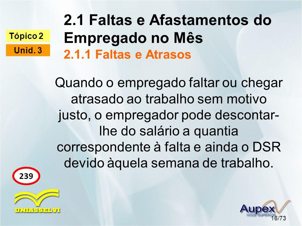 2.1 Faltas e Afastamentos do Empregado no Mês 2.1.1 Faltas e Atrasos 16/73 Tópico 2 Unid.