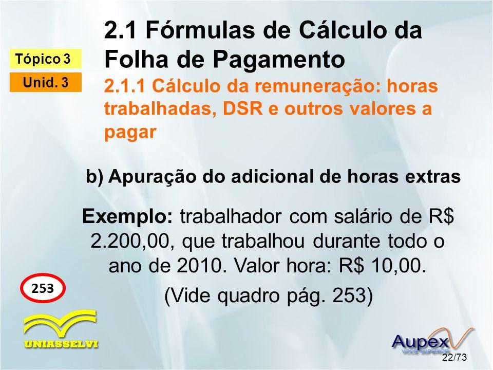 2.1 Fórmulas de Cálculo da Folha de Pagamento 2.1.1 Cálculo da remuneração: horas trabalhadas, DSR e outros valores a pagar 22/73 Tópico 3 Unid.