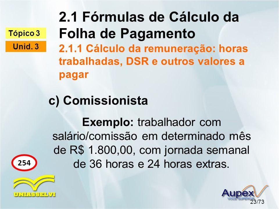 2.1 Fórmulas de Cálculo da Folha de Pagamento 2.1.1 Cálculo da remuneração: horas trabalhadas, DSR e outros valores a pagar 23/73 Tópico 3 Unid.