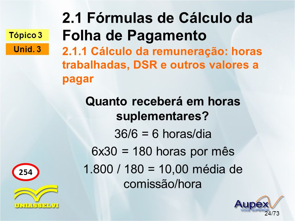 2.1 Fórmulas de Cálculo da Folha de Pagamento 2.1.1 Cálculo da remuneração: horas trabalhadas, DSR e outros valores a pagar 24/73 Tópico 3 Unid.