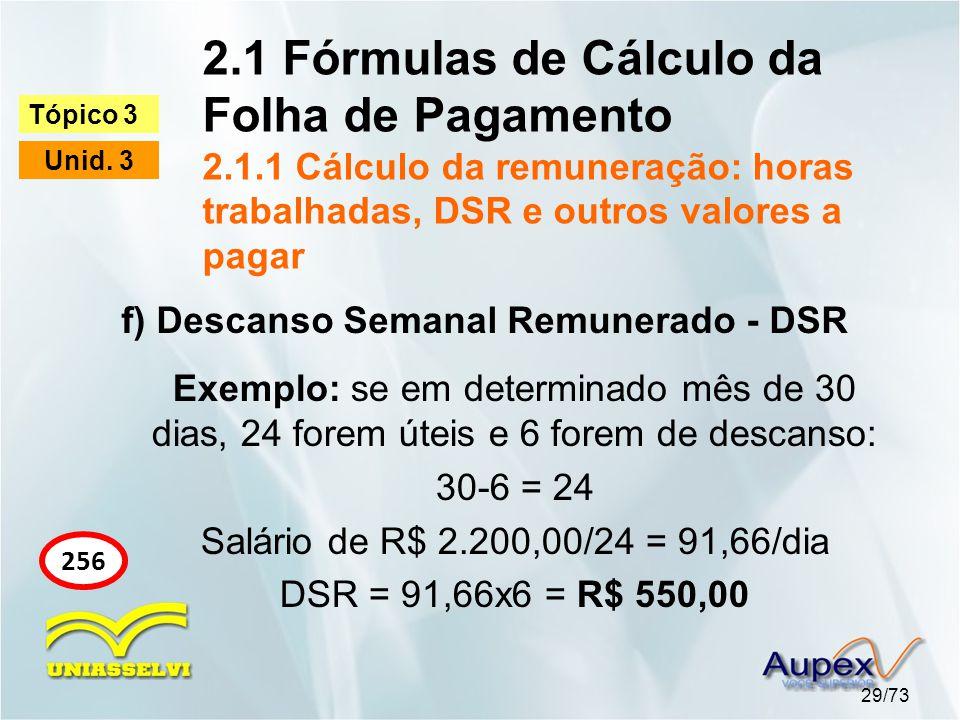 2.1 Fórmulas de Cálculo da Folha de Pagamento 2.1.1 Cálculo da remuneração: horas trabalhadas, DSR e outros valores a pagar 29/73 Tópico 3 Unid.