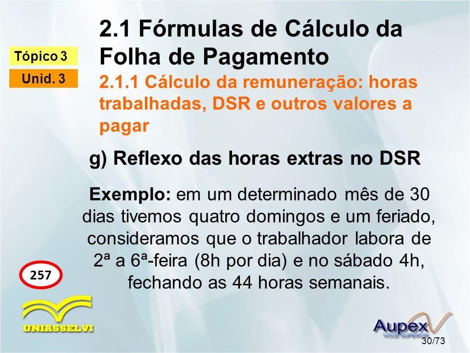 2.1 Fórmulas de Cálculo da Folha de Pagamento 2.1.1 Cálculo da remuneração: horas trabalhadas, DSR e outros valores a pagar 30/73 Tópico 3 Unid.