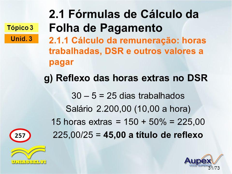 2.1 Fórmulas de Cálculo da Folha de Pagamento 2.1.1 Cálculo da remuneração: horas trabalhadas, DSR e outros valores a pagar 31/73 Tópico 3 Unid. 3 257