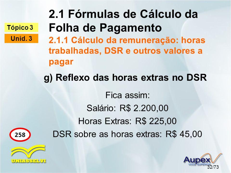 2.1 Fórmulas de Cálculo da Folha de Pagamento 2.1.1 Cálculo da remuneração: horas trabalhadas, DSR e outros valores a pagar 32/73 Tópico 3 Unid. 3 258