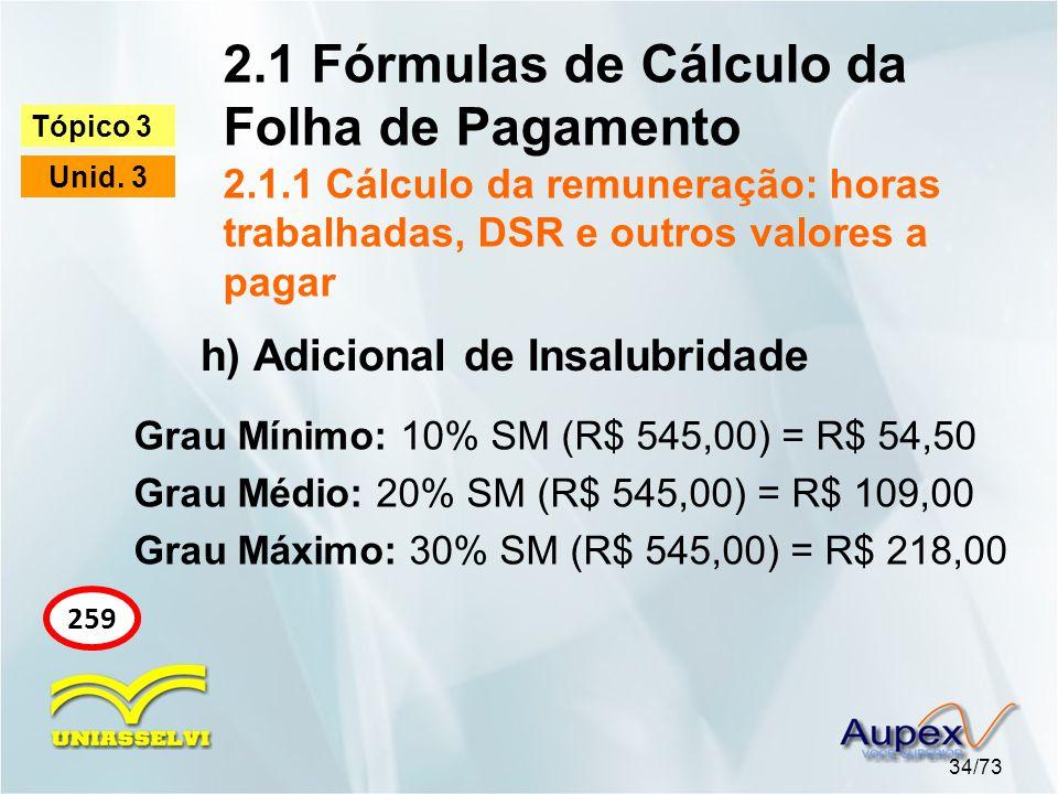 2.1 Fórmulas de Cálculo da Folha de Pagamento 2.1.1 Cálculo da remuneração: horas trabalhadas, DSR e outros valores a pagar 34/73 Tópico 3 Unid. 3 259