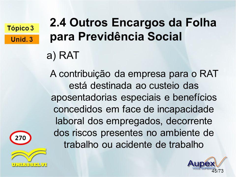 2.4 Outros Encargos da Folha para Previdência Social 45/73 Tópico 3 Unid. 3 270 a) RAT A contribuição da empresa para o RAT está destinada ao custeio