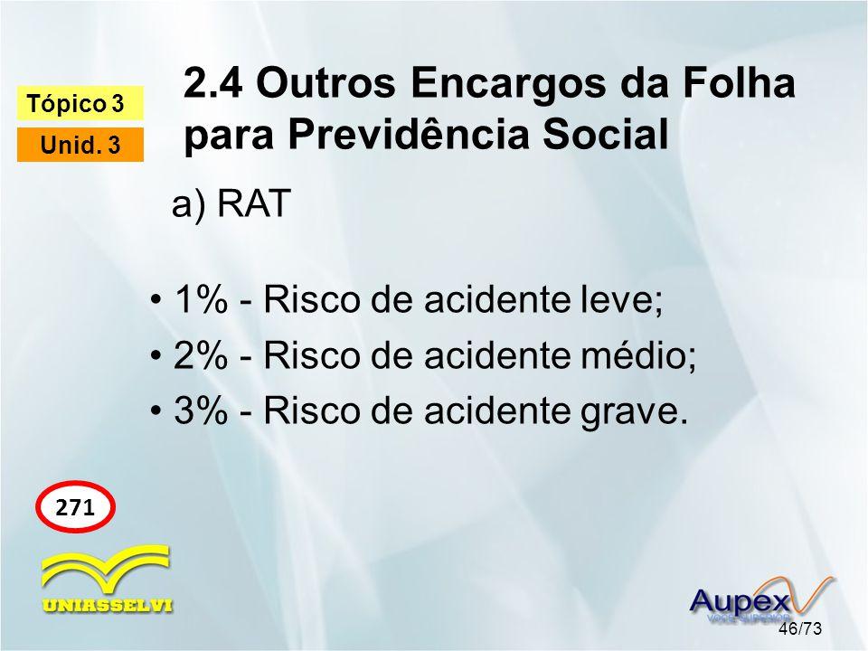 2.4 Outros Encargos da Folha para Previdência Social 46/73 Tópico 3 Unid. 3 271 • 1% - Risco de acidente leve; • 2% - Risco de acidente médio; • 3% -