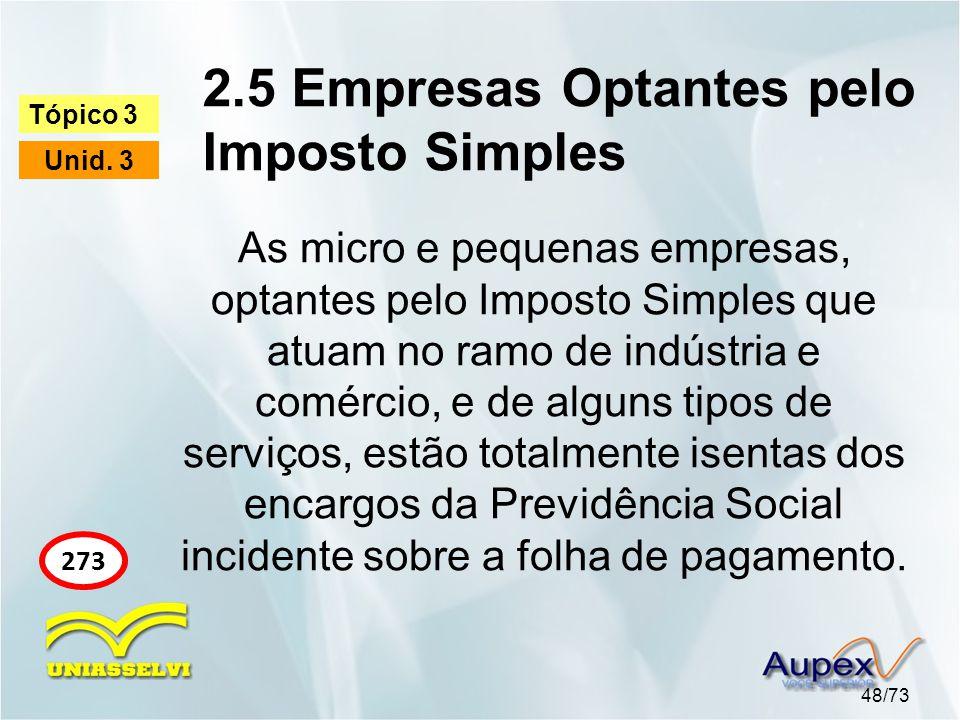 2.5 Empresas Optantes pelo Imposto Simples 48/73 Tópico 3 Unid.