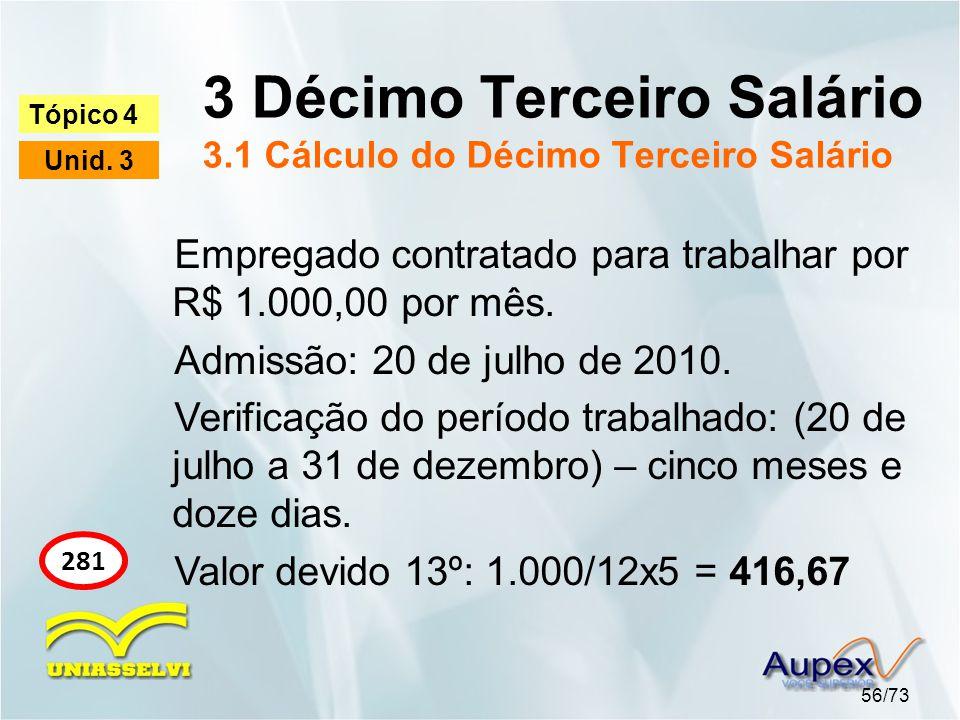 3 Décimo Terceiro Salário 3.1 Cálculo do Décimo Terceiro Salário 56/73 Tópico 4 Unid. 3 281 Empregado contratado para trabalhar por R$ 1.000,00 por mê