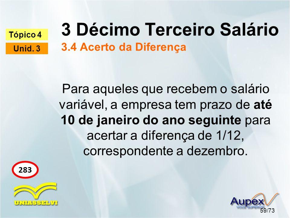 3 Décimo Terceiro Salário 3.4 Acerto da Diferença 59/73 Tópico 4 Unid. 3 283 Para aqueles que recebem o salário variável, a empresa tem prazo de até 1
