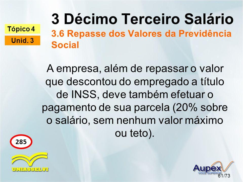 3 Décimo Terceiro Salário 3.6 Repasse dos Valores da Previdência Social 61/73 Tópico 4 Unid. 3 285 A empresa, além de repassar o valor que descontou d