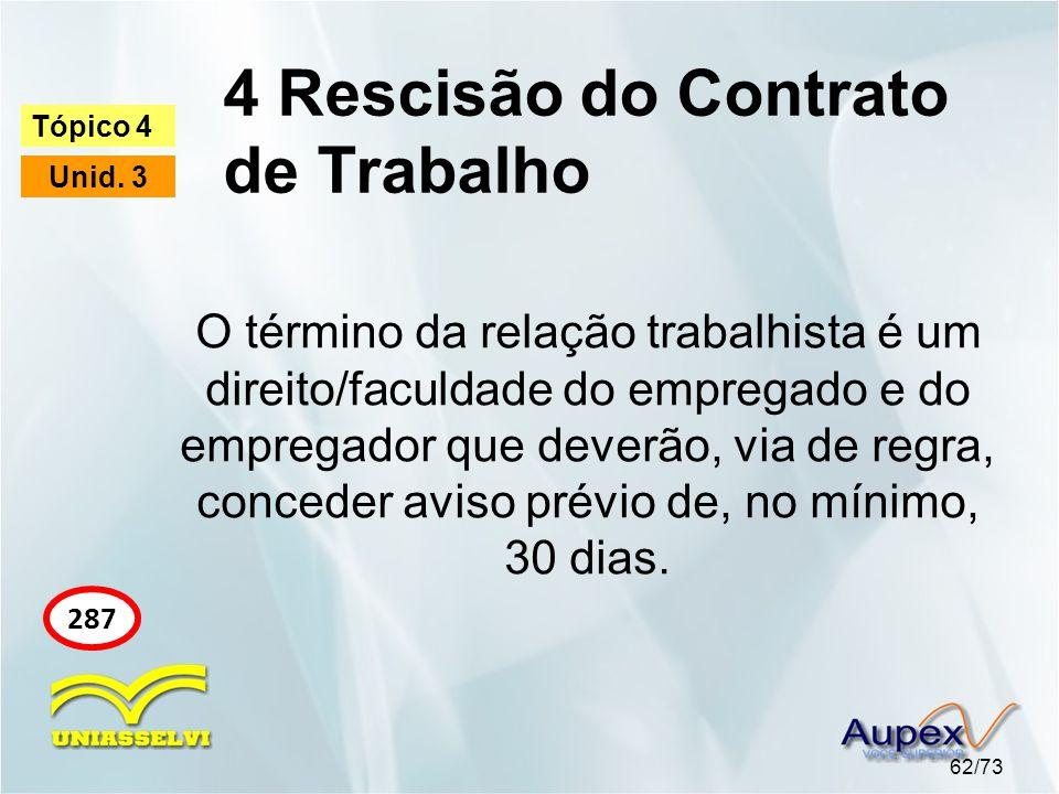 4 Rescisão do Contrato de Trabalho 62/73 Tópico 4 Unid. 3 287 O término da relação trabalhista é um direito/faculdade do empregado e do empregador que