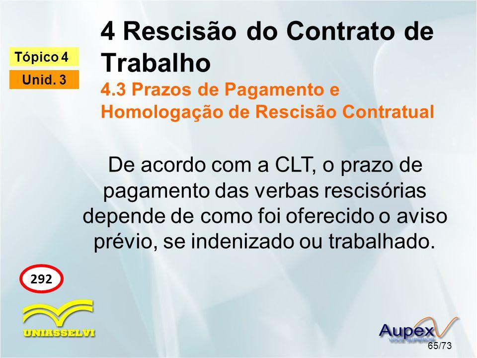 4 Rescisão do Contrato de Trabalho 4.3 Prazos de Pagamento e Homologação de Rescisão Contratual 65/73 Tópico 4 Unid. 3 292 De acordo com a CLT, o praz
