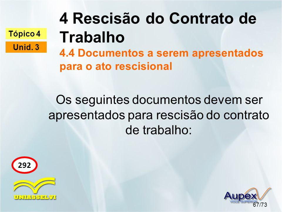 4 Rescisão do Contrato de Trabalho 4.4 Documentos a serem apresentados para o ato rescisional 67/73 Tópico 4 Unid. 3 292 Os seguintes documentos devem