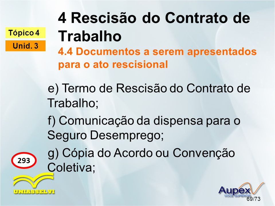 4 Rescisão do Contrato de Trabalho 4.4 Documentos a serem apresentados para o ato rescisional 69/73 Tópico 4 Unid. 3 293 e) Termo de Rescisão do Contr