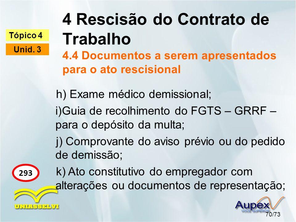4 Rescisão do Contrato de Trabalho 4.4 Documentos a serem apresentados para o ato rescisional 70/73 Tópico 4 Unid. 3 293 h) Exame médico demissional;