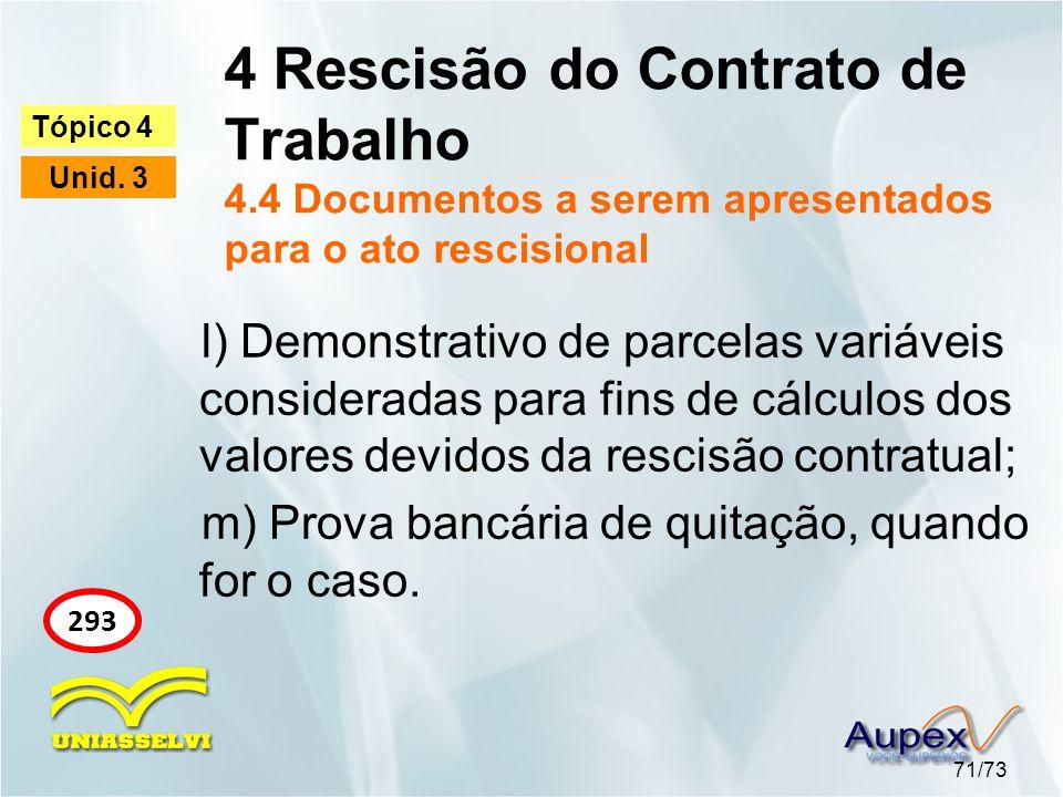 4 Rescisão do Contrato de Trabalho 4.4 Documentos a serem apresentados para o ato rescisional 71/73 Tópico 4 Unid. 3 293 l) Demonstrativo de parcelas