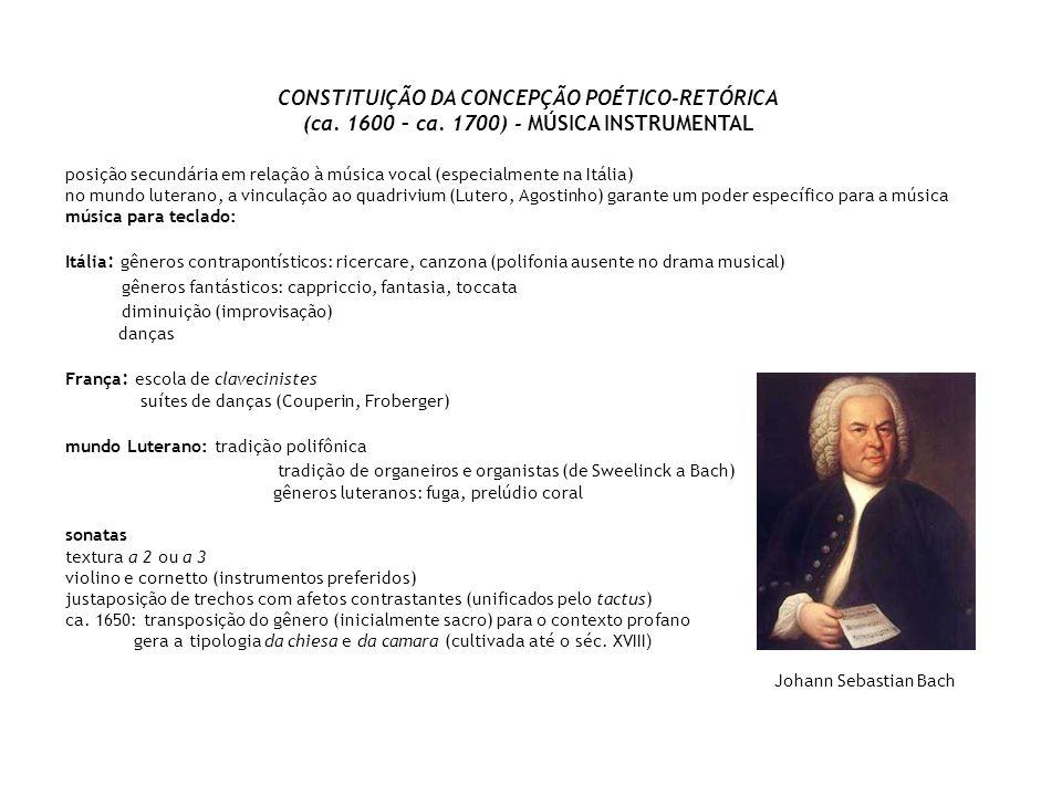 CONSTITUIÇÃO DA CONCEPÇÃO POÉTICO-RETÓRICA (ca. 1600 – ca. 1700) - MÚSICA INSTRUMENTAL posição secundária em relação à música vocal (especialmente na