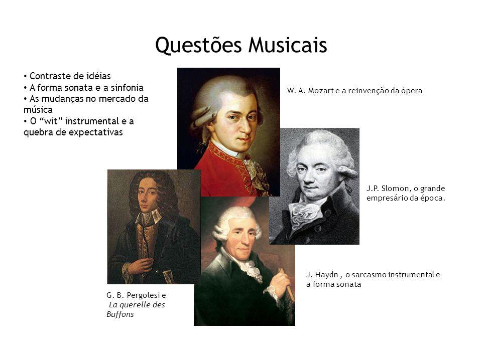 Questões Musicais W. A. Mozart e a reinvenção da ópera G. B. Pergolesi e La querelle des Buffons J.P. Slomon, o grande empresário da época. J. Haydn,