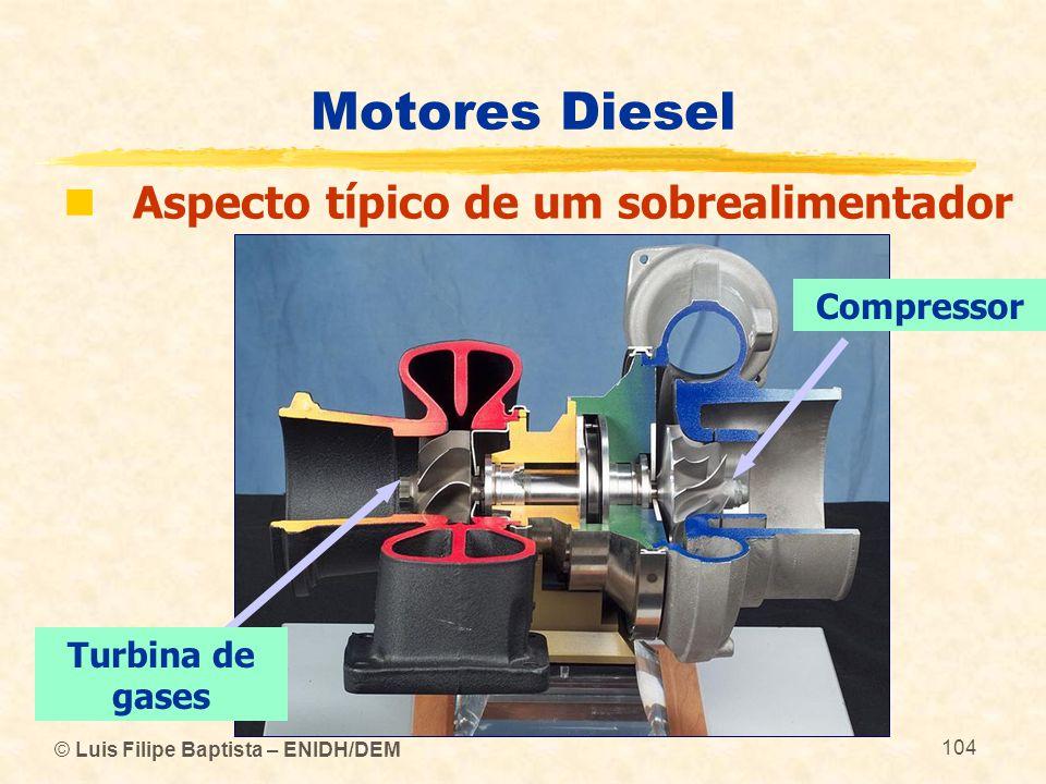 © Luis Filipe Baptista – ENIDH/DEM 104 Motores Diesel  Aspecto típico de um sobrealimentador Compressor Turbina de gases