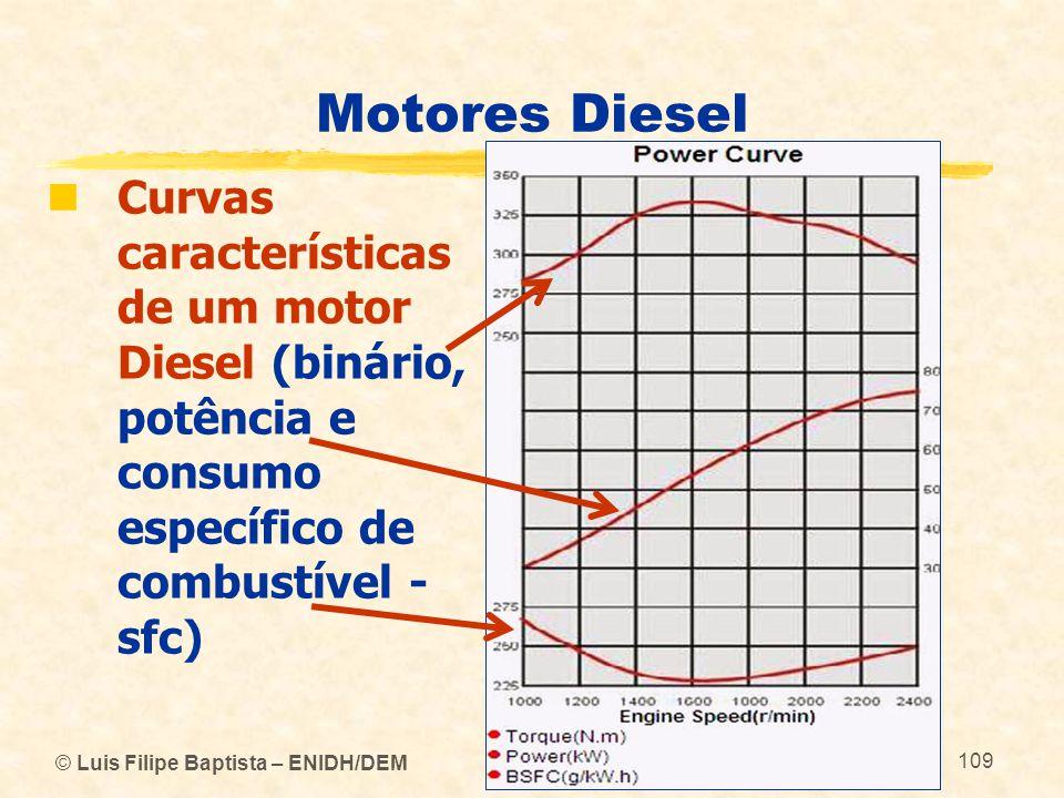 © Luis Filipe Baptista – ENIDH/DEM 109 Motores Diesel  Curvas características de um motor Diesel (binário, potência e consumo específico de combustív