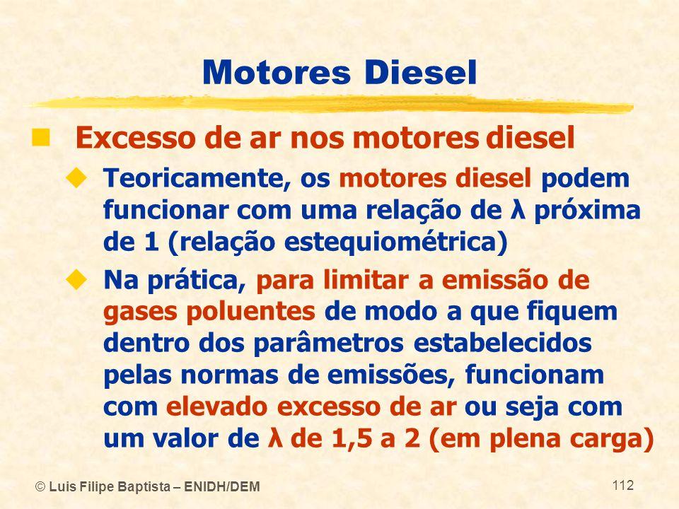© Luis Filipe Baptista – ENIDH/DEM 112 Motores Diesel  Excesso de ar nos motores diesel  Teoricamente, os motores diesel podem funcionar com uma rel