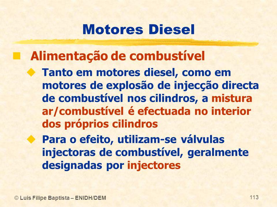 © Luis Filipe Baptista – ENIDH/DEM 113 Motores Diesel  Alimentação de combustível  Tanto em motores diesel, como em motores de explosão de injecção