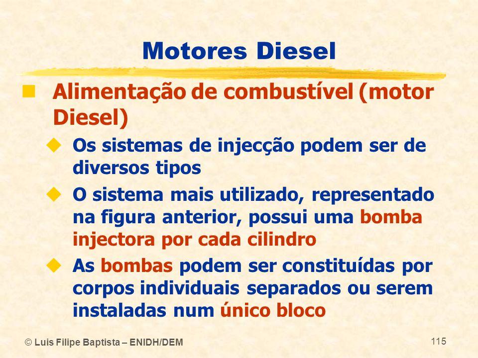 © Luis Filipe Baptista – ENIDH/DEM 115 Motores Diesel  Alimentação de combustível (motor Diesel)  Os sistemas de injecção podem ser de diversos tipo