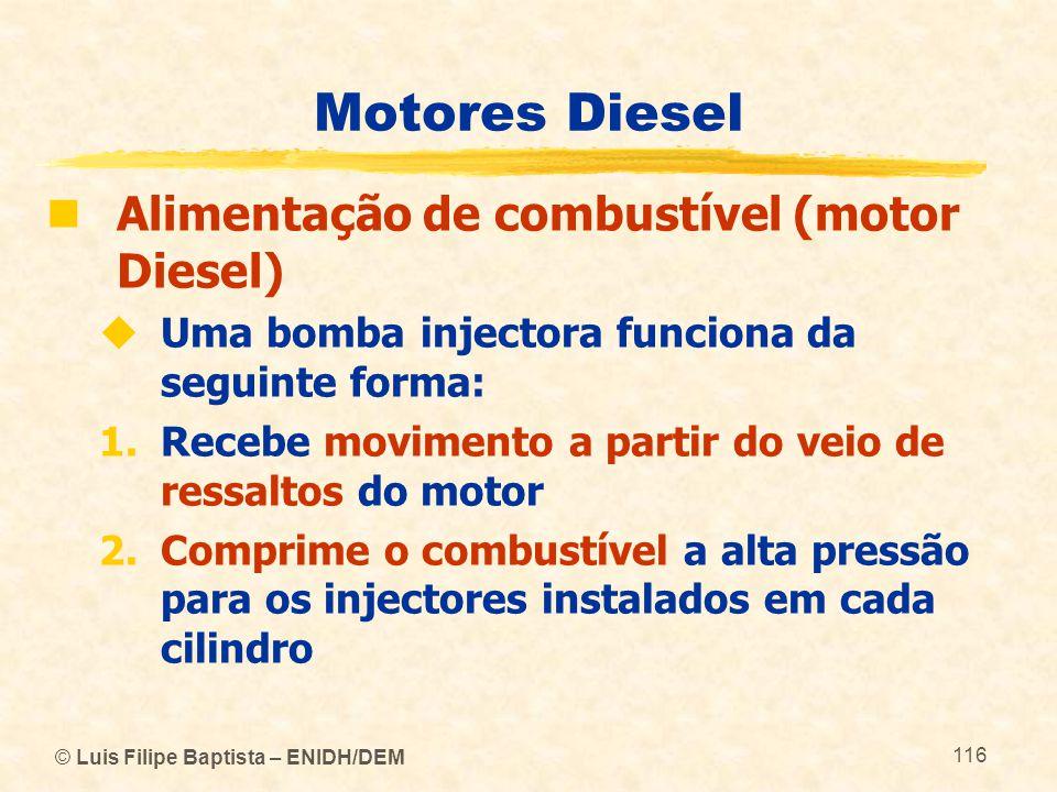 © Luis Filipe Baptista – ENIDH/DEM 116 Motores Diesel  Alimentação de combustível (motor Diesel)  Uma bomba injectora funciona da seguinte forma: 1.
