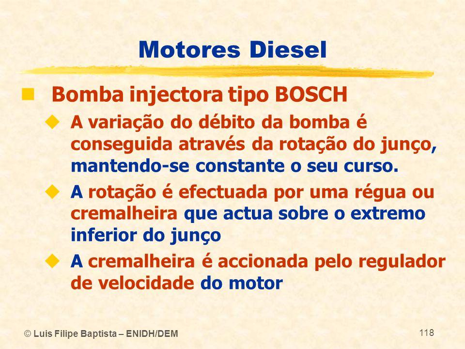 © Luis Filipe Baptista – ENIDH/DEM 118 Motores Diesel  Bomba injectora tipo BOSCH  A variação do débito da bomba é conseguida através da rotação do