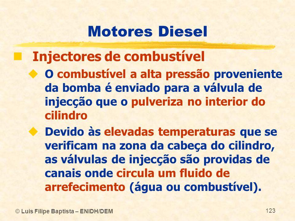 © Luis Filipe Baptista – ENIDH/DEM 123 Motores Diesel  Injectores de combustível  O combustível a alta pressão proveniente da bomba é enviado para a