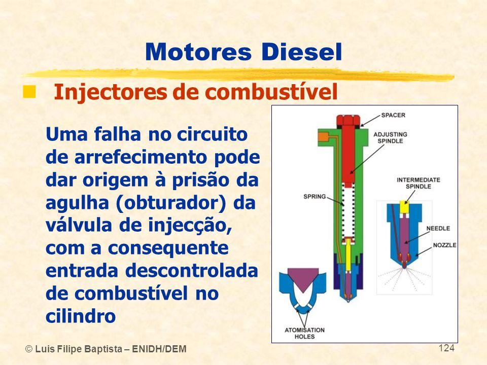 © Luis Filipe Baptista – ENIDH/DEM 124 Motores Diesel  Injectores de combustível Uma falha no circuito de arrefecimento pode dar origem à prisão da a