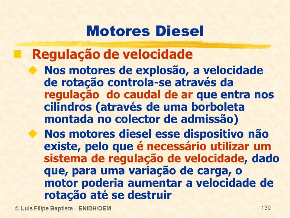 © Luis Filipe Baptista – ENIDH/DEM 130 Motores Diesel  Regulação de velocidade  Nos motores de explosão, a velocidade de rotação controla-se através
