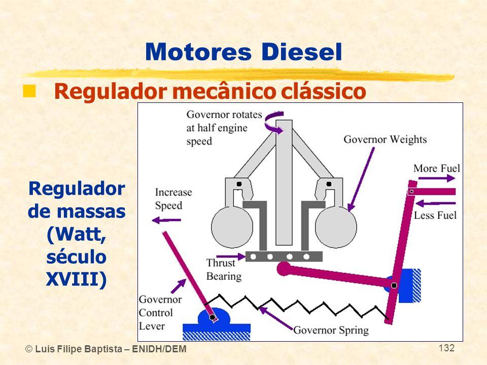 © Luis Filipe Baptista – ENIDH/DEM 132 Motores Diesel  Regulador mecânico clássico Regulador de massas (Watt, século XVIII)