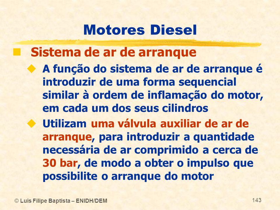 © Luis Filipe Baptista – ENIDH/DEM 143 Motores Diesel  Sistema de ar de arranque  A função do sistema de ar de arranque é introduzir de uma forma se
