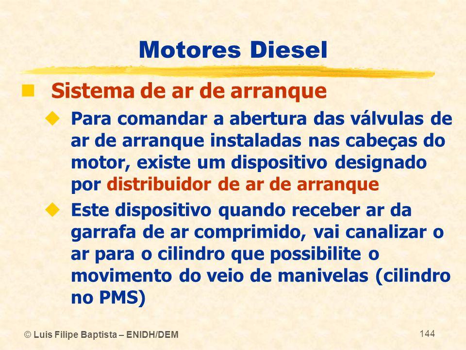 © Luis Filipe Baptista – ENIDH/DEM 144 Motores Diesel  Sistema de ar de arranque  Para comandar a abertura das válvulas de ar de arranque instaladas