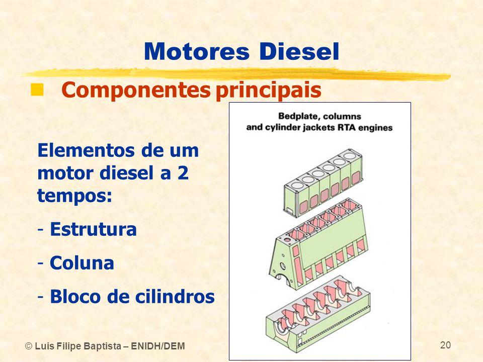 © Luis Filipe Baptista – ENIDH/DEM 20 Motores Diesel  Componentes principais Elementos de um motor diesel a 2 tempos: - Estrutura - Coluna - Bloco de