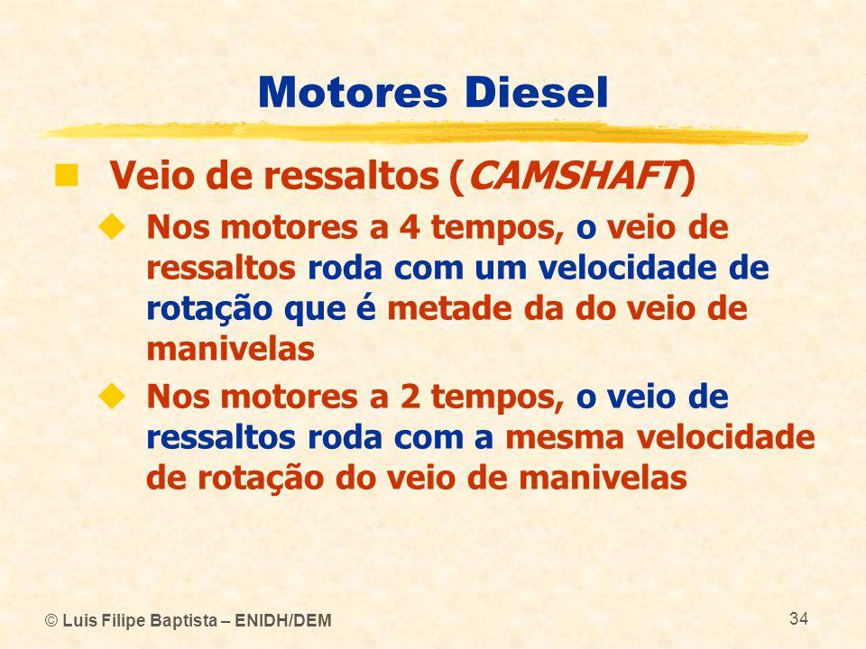 © Luis Filipe Baptista – ENIDH/DEM 34 Motores Diesel  Veio de ressaltos (CAMSHAFT)  Nos motores a 4 tempos, o veio de ressaltos roda com um velocida